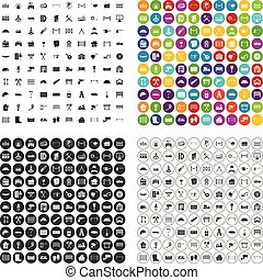 100 fence icons set vector variant