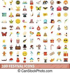 100 festival icons set, flat style