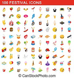 100 festival icons set, isometric 3d style