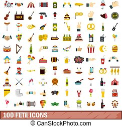 100 fete icons set, flat style - 100 fete icons set in flat...