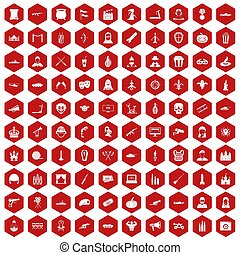 100 film icons hexagon red