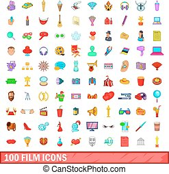 100 film icons set, cartoon style