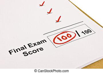 100%, final, marqué, examen