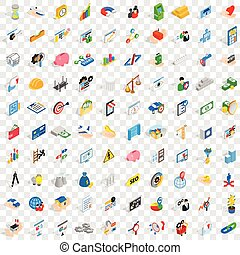 100 finance and banking icons set, isometric style