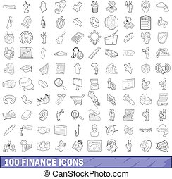 100 finance icons set, outline style
