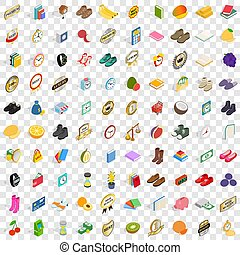 100 fineness icons set, isometric 3d style - 100 fineness...