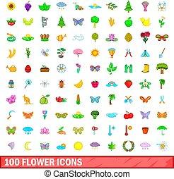 100, fiore, icone, set, cartone animato, stile