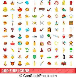 100 fire icons set, cartoon style