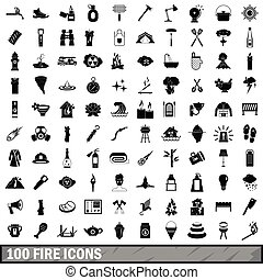 100 fire icons set, simple style