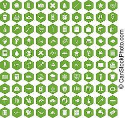 100 fish icons hexagon green