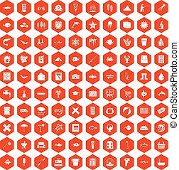 100 fish icons hexagon orange