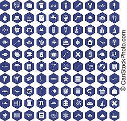 100 fish icons hexagon purple