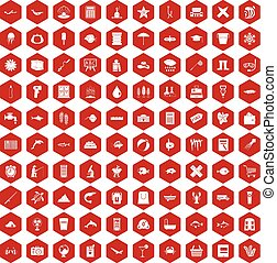 100 fish icons hexagon red