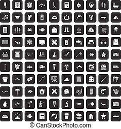 100 fish icons set black