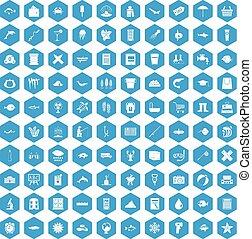 100 fish icons set blue