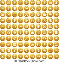 100 fish icons set gold