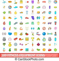100 fitness equipment icons set, cartoon style - 100 fitness...