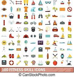 100 fitness skill icons set, flat style