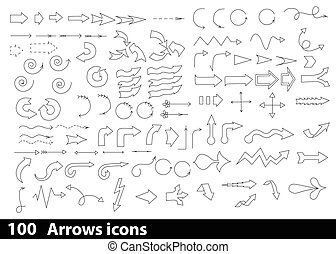 100, flèches, hand-drawn, icônes
