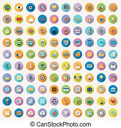 100 flat icons collection