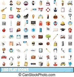 100 flat icons set, cartoon style