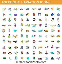 100 flight and aviation icons set, cartoon style