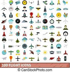 100 flight icons set, flat style