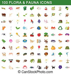 100 flora and fauna icons set, cartoon style