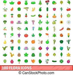 100, flora, icone, set, cartone animato, stile
