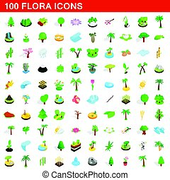 100 flora icons set, isometric 3d style