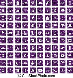 100, flores, iconos, conjunto, grunge, púrpura