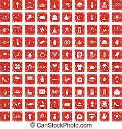 100, flores, iconos, conjunto, grunge, rojo