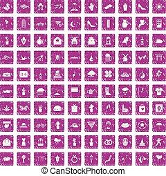 100, flores, iconos, conjunto, grunge, rosa