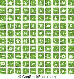 100, flores, iconos, conjunto, grunge, verde