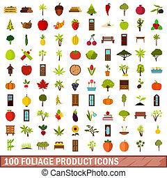 100 foliage product icons set, flat style - 100 foliage...
