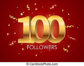 100 Followers Background Template Illustration