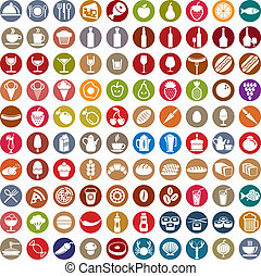 100 food and drink icons set. - 100 food and drink icons...