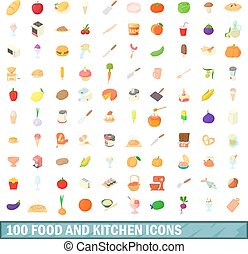 100 food and kitchen icons set, cartoon style