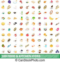 100 food and kitchen icons set, isometric 3d style