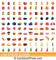 100 food icons set, cartoon style