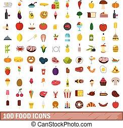 100 food icons set, flat style