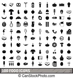 100 food icons set in simple style