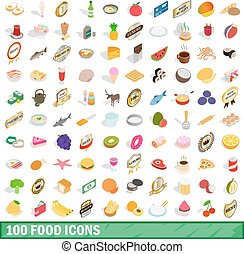 100 food icons set, isometric 3d style