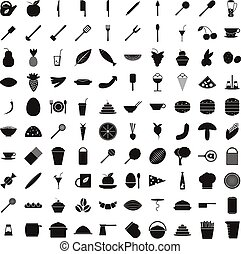 100 food icons set, simple style