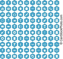 100 food shopping icons set blue