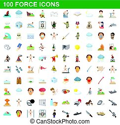 100 force icons set, cartoon style