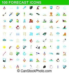 100 forecast icons set, cartoon style