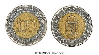 100, forint, -, ungerska, pengar
