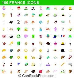 100 france icons set, cartoon style