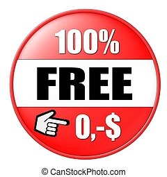 100% free button red dollar